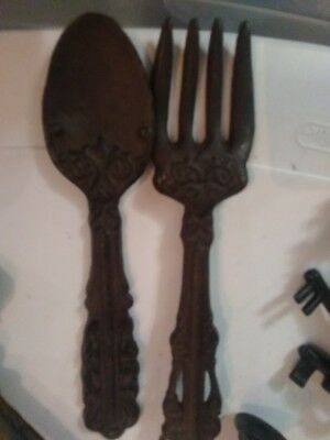 Decorative Cast Iron Fork And Spoon Wall Hanging