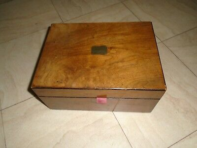 Antique Vintage Mahogany Wood Sewing Box With Contents Thimbles Et Desk Top Box