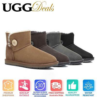 UGG Women Mini Button Ankle Boots Premium Australian Sheepskin Water Resistant