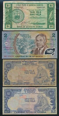 "Samoa: 1967-2002 1 to 20 Tala ""COLLECTION OF 8 NOTES"". Pick 16d-33b NF to UNC"