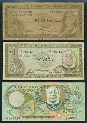 "Tonga: 1971-95 1 Pa'anga Queen & King ""SET OF 3 DIFFERENT TYPES"". Pick 14d-31a"