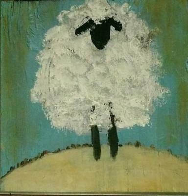 Sheep distressed rustic reclaimed wood Farmhouse home decor farm animal painting