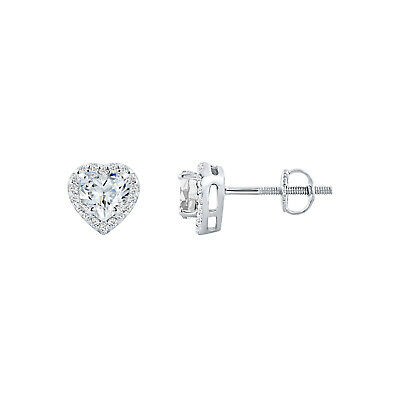 1.10 Ct Diamond Halo Heart Stud Earrings 14K White Gold Over 925 Sterling Silver
