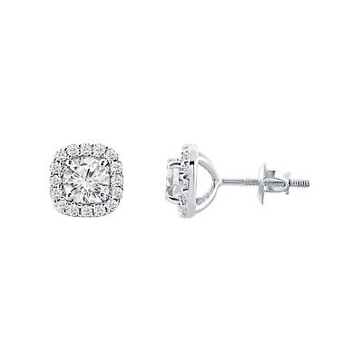 1.80 Ct Round Diamond Halo Stud Earring 14K White Gold Over 925 Sterling Silver