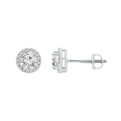 1.10 Ct Round Diamond Halo Stud Earrings 14K White Gold Over 925 Sterling Silver