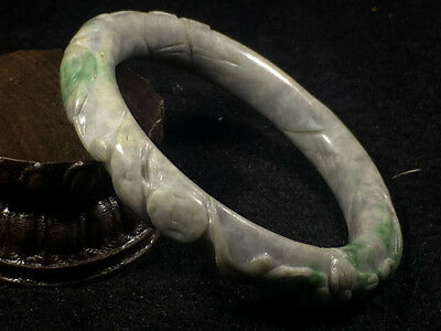 59mm Chinese Old jade bangle hand-carved flower design jade Bracelet X1776