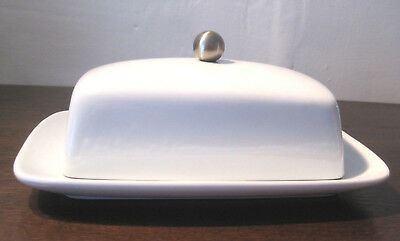Lovely White Porcelain Butter Dish With Lid