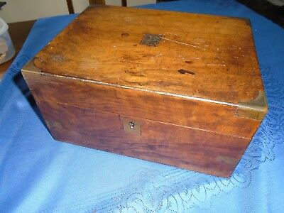 Antique Vintage Mahogany Writing Slope  Desk Top Stationery Storage Box