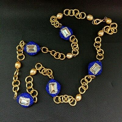 34'' Champagne Rice Pearl Blue Crystal Pave Bead Gold Plated Chain Necklace