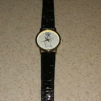 Vintage Pillsbury Doughboy Quartz Genuine Leather Band WRIST WATCH Image Co