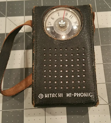Vintage Hitachi Hi-Phonic Model #TH-680 6 TRANSISTOR RADIO AM Only with Case
