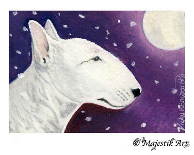 "English Bull terrier Dog Animal ACEO Print /""Summer/"" By V Kenworthy"