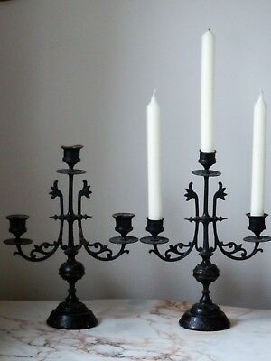 A Pair Of Antique Late Victorian Cast Iron Candlesticks Candelabra