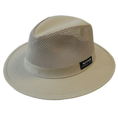6abfaa8aa95021 Panama Jack Men's Safari Fedora Mesh Hat - Khaki - choose Medium Large or XL