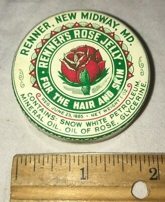 Antique Renner Rose Jelly Hair Skin Salve Medicine Tin Litho Can New Midway Md