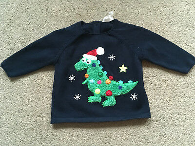 BNWT NEXT Baby Boys Navy Blue Applique Dinosaur Christmas Jumper