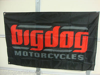 Big Dog Motorcycles Black Signature Logo Flag Indoor K-9 Chopper Pitbull Mastiff