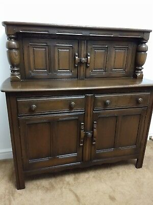 Ercol Dark Wood Sideboard, Buffet Server, Court Cupboard