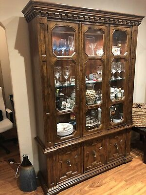 1940s China Cabinet with Overhead Lights