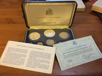 1973 Barbados First Coinage 8 Piece Proof Set Franklin Mint