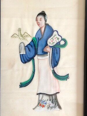 Beautiful Fine Antique Qing Chinese Export Painting On Pith Woman With Fan