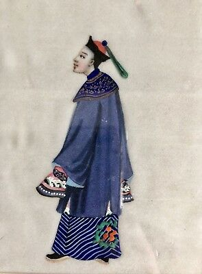 Beautiful Fine Antique Qing Chinese Export Painting On Pith Man Official