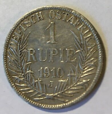 Cerman East Africa 1910 Rupee, VF condition