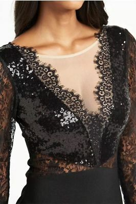 Lipsy Michelle Keegan Bodycon Dress 8 Sequin Black Lace Mesh Long Sleeve Party