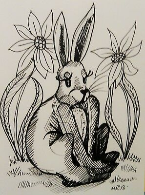 DAILY SKETCH:Original Ink Drawing 'Miss Hare' by Michelle Ranson