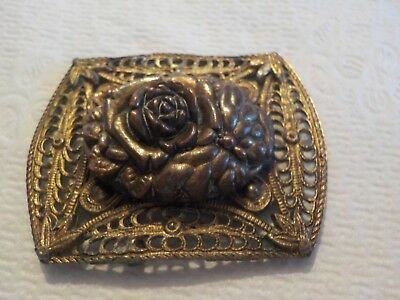 Antique Victorian Edwardian Brass Floral And Filigree Brooch Pin