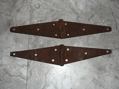 Pair Of Old Antique Vintage Barn Farm Shed Door Strap Hinges