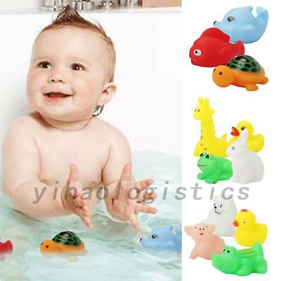13PCS Animal Child Baby Kids Bath Toy Rubber Floating Squeeze Sound Wash Bath US