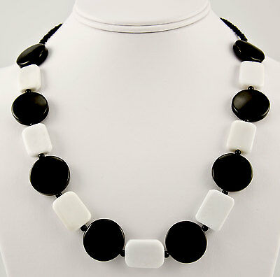 Black and White Agate Gemstone Necklace .925 Sterling Silver Onyx Monochrome iDu