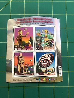 Canada Stamps - ROADSIDE ATTRACTIONS Souvenir Sheet 4 x 54c  stamps *NEW*