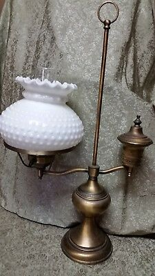 Vintage Student / Desk Table Lamp with Chiminey and Hobnail Milk Glass Shade