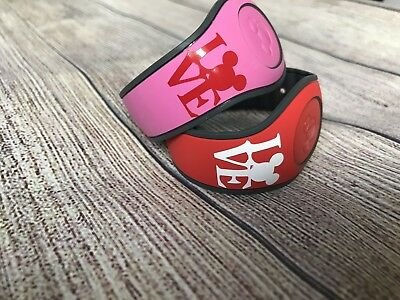 Valentine Set of 2 Disney Magic Band Decals stickers Mickey Love Red & White