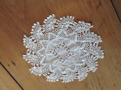 Vintage Crochet Round Doily linen center 7 1/2""