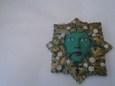 GREEN FLORA    unusual small wall mask by David Lawrence  TAKE A LOOK