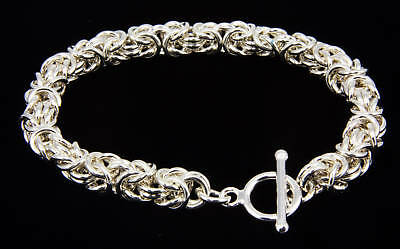 Byzantine Sterling Silver Bracelet Handmade Chain Maille 7.5 Inch Chainmail iDu