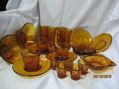 DURALEX Amber vintage dining set of glasses and plates to serve dessert!!!