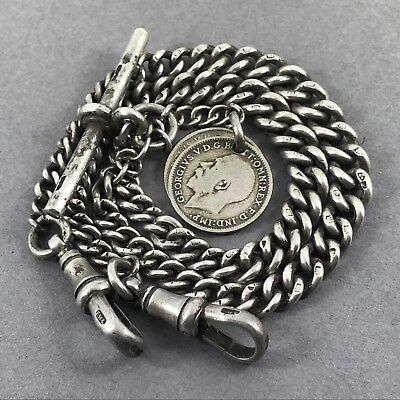 Fine Heavy Antique Solid Silver Double Albert Chain w 2 Coin Fobs c1902