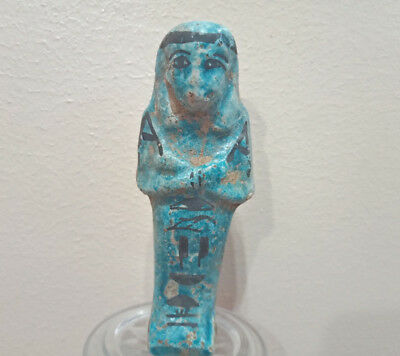 Funerary Shabti Egyptian Antique Glazed Ushabti Faience CIRCA 2600 : 2100 BCE