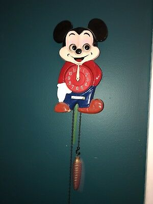 Rare Vintage Mickey Mouse Wall Clock Moving Eyes
