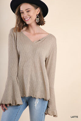 36559c7ef77625 UMGEE LONG SLEEVE waffle knit thermal boho V neck top plus S M L XL ...