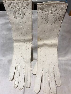 Vintage Off White Beaded Gloves Size 7
