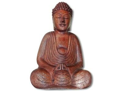 Buddha Statue meditierend 20cm dunkles Holz  Buddha Buddhismus Feng Shui