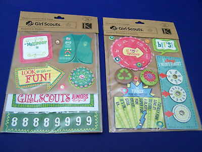 NEW K & Co GIRL SCOUTS 2 Sealed Pks 91 Pcs I BUY COOKIES! Cute Spinners, Buttons