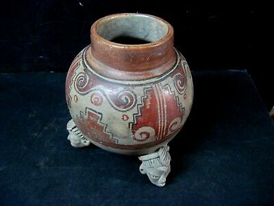 Pre-Columbian Pottery- Three Footed Vessel  7 1/2 Tall Polychrome