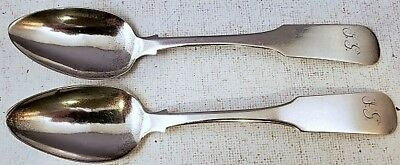 "Rare Pair of c1840 N. HARDING 30gr BOSTON COIN SILVER 6"" TEASPOONS JG Mono NR"