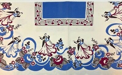 Vtg Cotton Print Tablecloth Blue Maroon Dancing Couple Mid Century 1950s 36x39